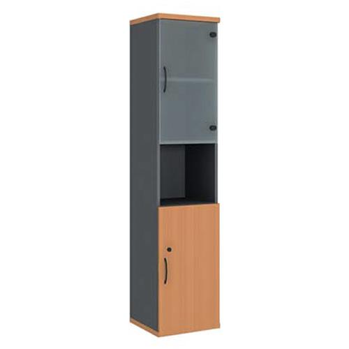 Шкаф узкий (глухая дверь + стеклянная дверь) с нишей R5W12