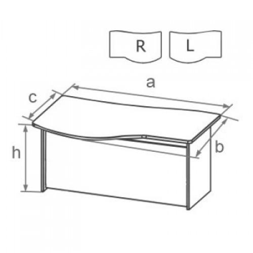 Стол письменный угловой с брифинг-зоной на ДСП каркасе с низкой передней панелью DD