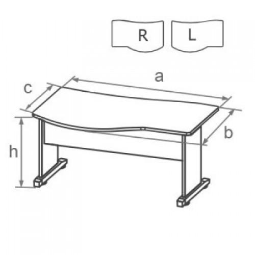 Стол письменный угловой с брифинг-зоной на L-образном металлическом каркасе DF