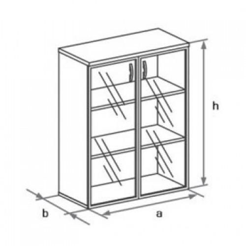 Шкаф (стеклянные двери в раме) 3-го уровня DH3-025