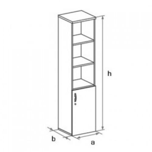 Шкаф узкий (глухая дверь) с нишами 5-го уровня DH5-002