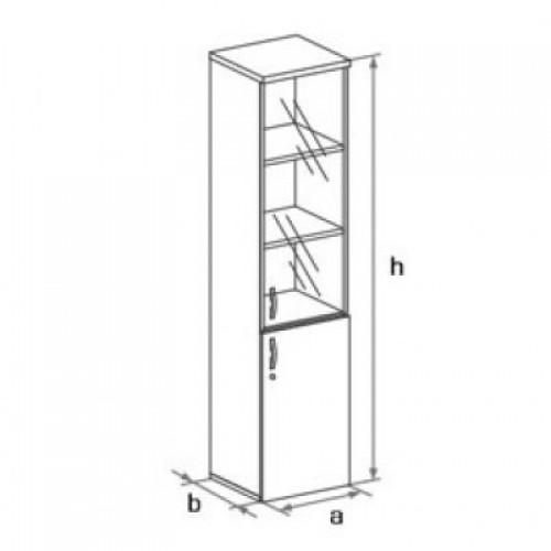 Шкаф узкий (дверь+стеклянная дверь) 5-го уровня DH5-005