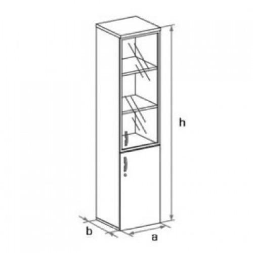 Шкаф узкий (дверь+стеклянная дверь в раме) 5-го уровня DH5-006