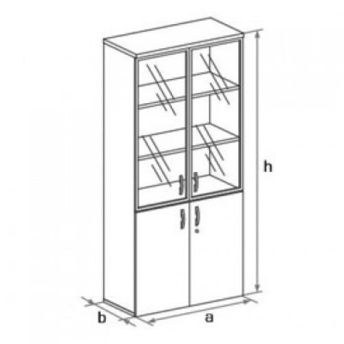 Шкаф (двери+стеклянные двери) 5-го уровня DH5-026