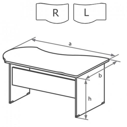 Стол письменный угловой с высокой передней панелью DK