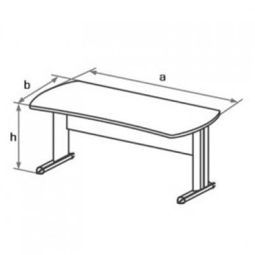 Стол письменный симметричный на L-образном металлическом каркасе DT4
