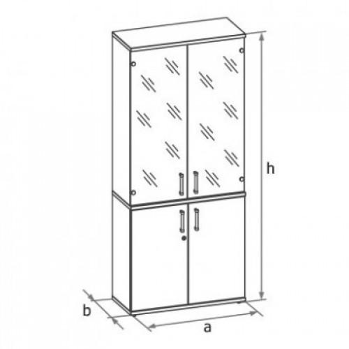 Шкаф (глухие двери + стеклянные двери в раме) 5-го уровня MM5-028