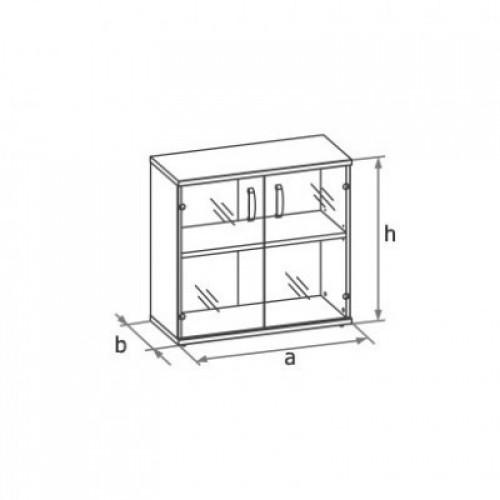 Шкаф (стеклянные двери) 2-го уровня MM2-023