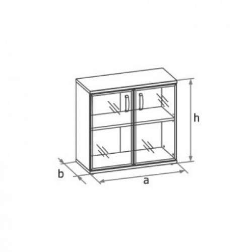 Шкаф (стеклянные двери в раме) 2-го уровня MM2-024