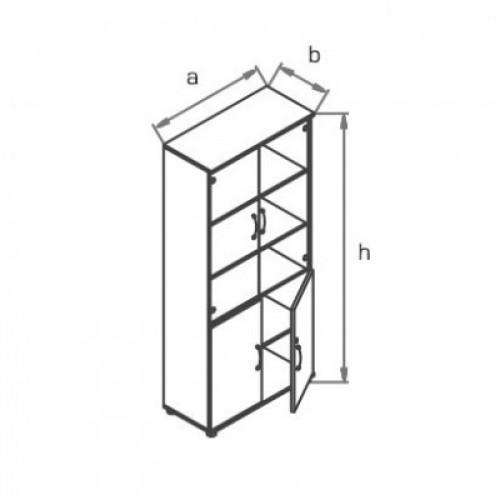 Шкаф (глухие двери + стеклянные двери) R5S72