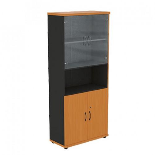 Шкаф (глухие двери + стеклянные двери)с нишей R5S12