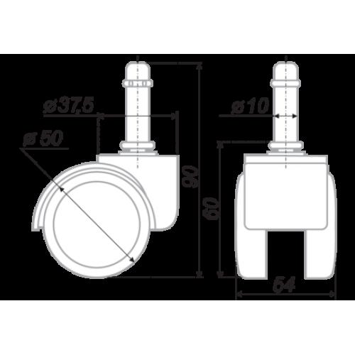Ролики для кресла (стула) прорезиненные (диаметр 10мм, 5 штук)