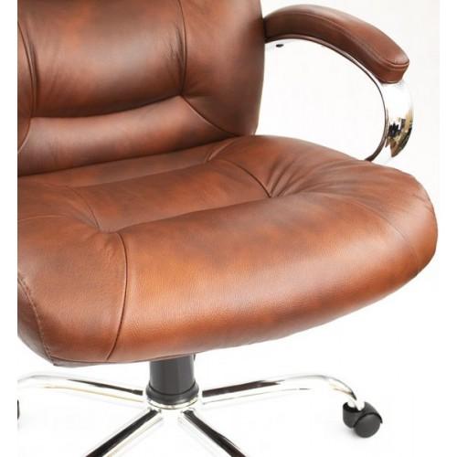 """Кресло """"Авиатор Хром"""" из натуральной кожи коричневого цвета"""