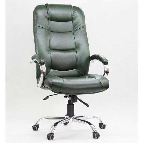 """Кресло """"Авиатор Хром"""" из натуральной кожи зеленый глянец"""