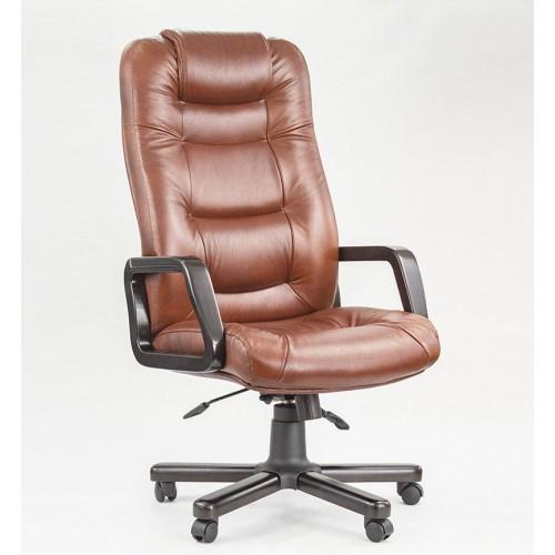"""Кресло офисное """"Авиатор Дерево"""" из натуральной кожи коричневого цвета"""