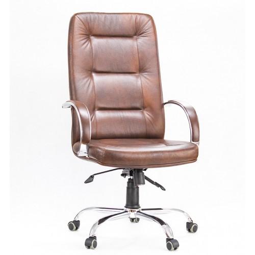 """Кресло """"Идра Хром"""" из натуральной кожи коричневого цвета"""