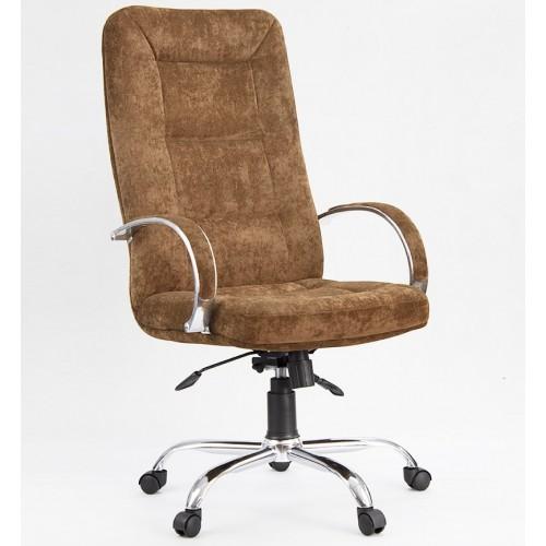 """Кресло """"Идра Хром"""" из ткани """"Пирл 108"""" коричневого цвета"""