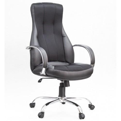 """Кресло """"Лига Хром"""" из эко-кожи черного цвета с вставкой из сетки"""