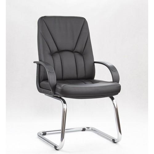"""Кресло для посетителей """"Менеджер пластик+хром"""" из эко-кожи """"Трикс 37"""" черного цвета"""