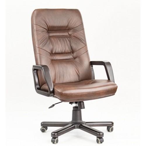 """Кресло офисное """"Министр Дерево"""" из натуральной кожи шоколад глянец"""