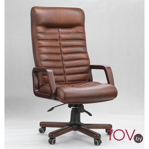 Кресло Орион Экстра из кожи коричневого цвета