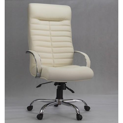 """Кресло """"Орион Хром"""" из эко-кожи """"Трикс 10"""" светло-бежевого цвета"""