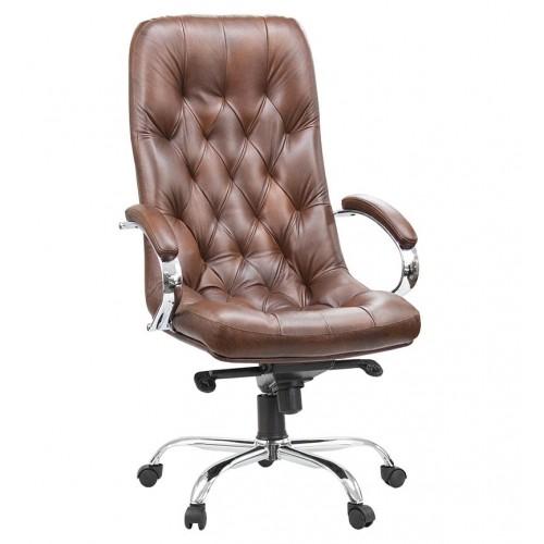"""Кресло руководителя """"Премьер Хром"""" из натуральной кожи шоколадного цвета"""