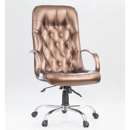 """Кресло """"Премьер Хром"""" из эко-кожи """"Вегас Сиена"""" бронзового цвета"""