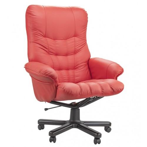 """Кресло реклайнер """"Магик"""" из натуральной кожи красного цвета"""