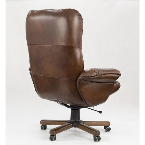 """Кресло реклайнер """"Магик"""" из натуральной кожи шоколад глянец"""