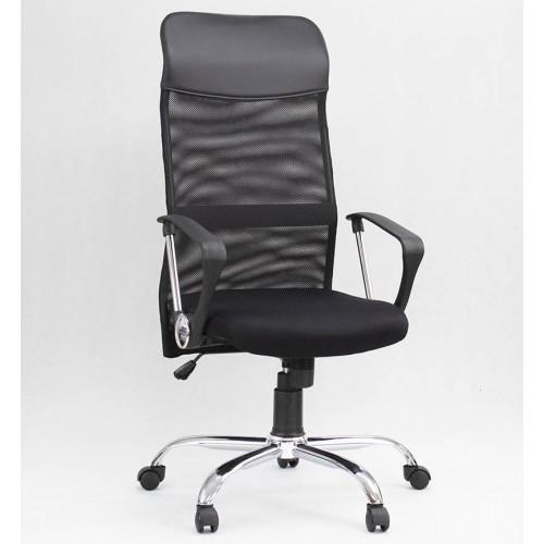 """Кресло """"Тратто Хром"""" из сетки черного цвета"""