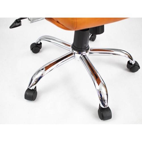 """Кресло офисное """"Орион мини Хром"""" из эко-кожи """"Бизон 29"""" оранжевого цвета"""