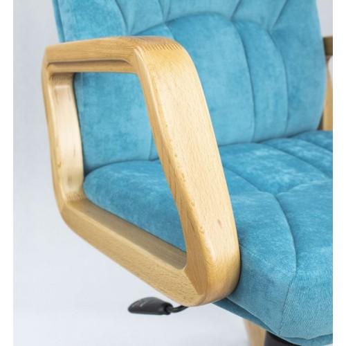 """Кресло """"Менеджер Дерево"""" из ткани """"Пирл 141"""" бирюзового цвета"""