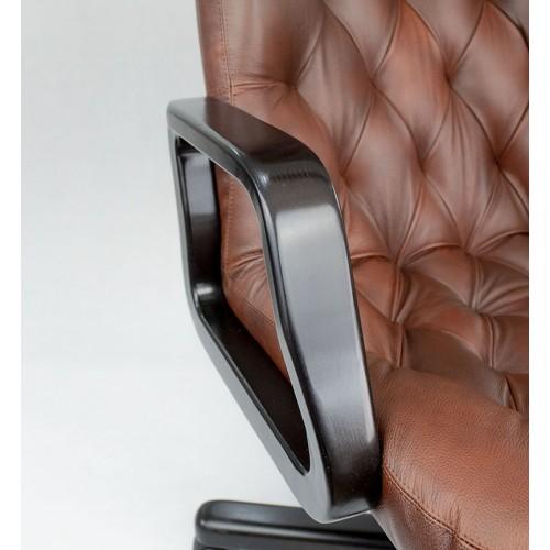 """Кресло офисное кожаное """"Премьер Дерево"""" коричневого цвета"""